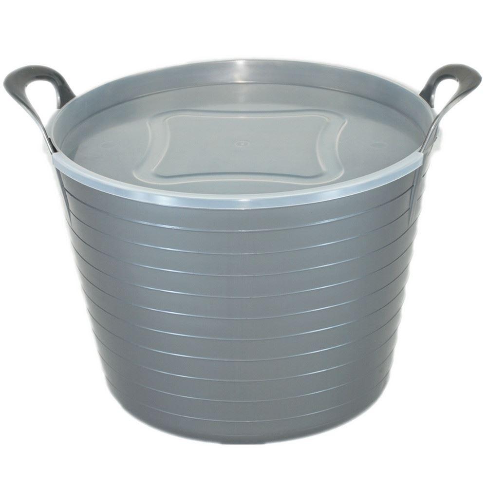 42 Litre Large Flexi Tub Flexible Rubber Storage Bucket With Lid ...