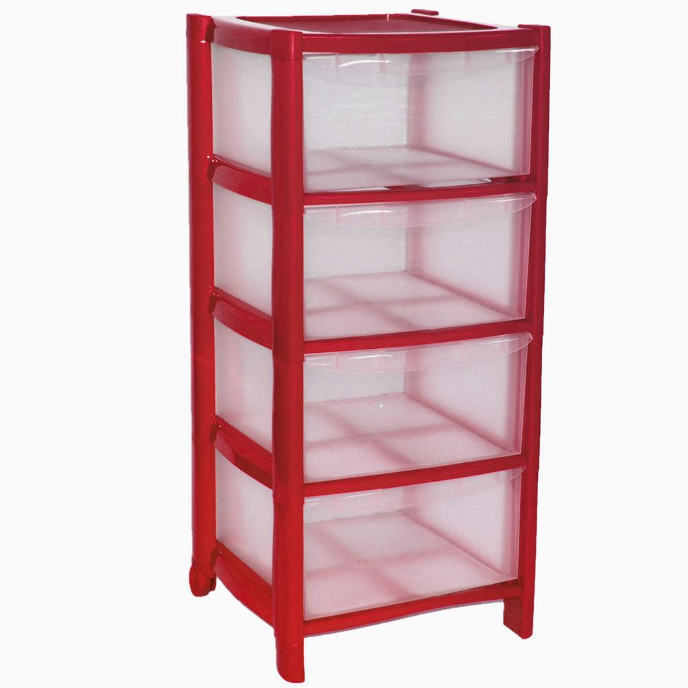 Red Drawer Plastic Large Tower Storage Drawers Unit With