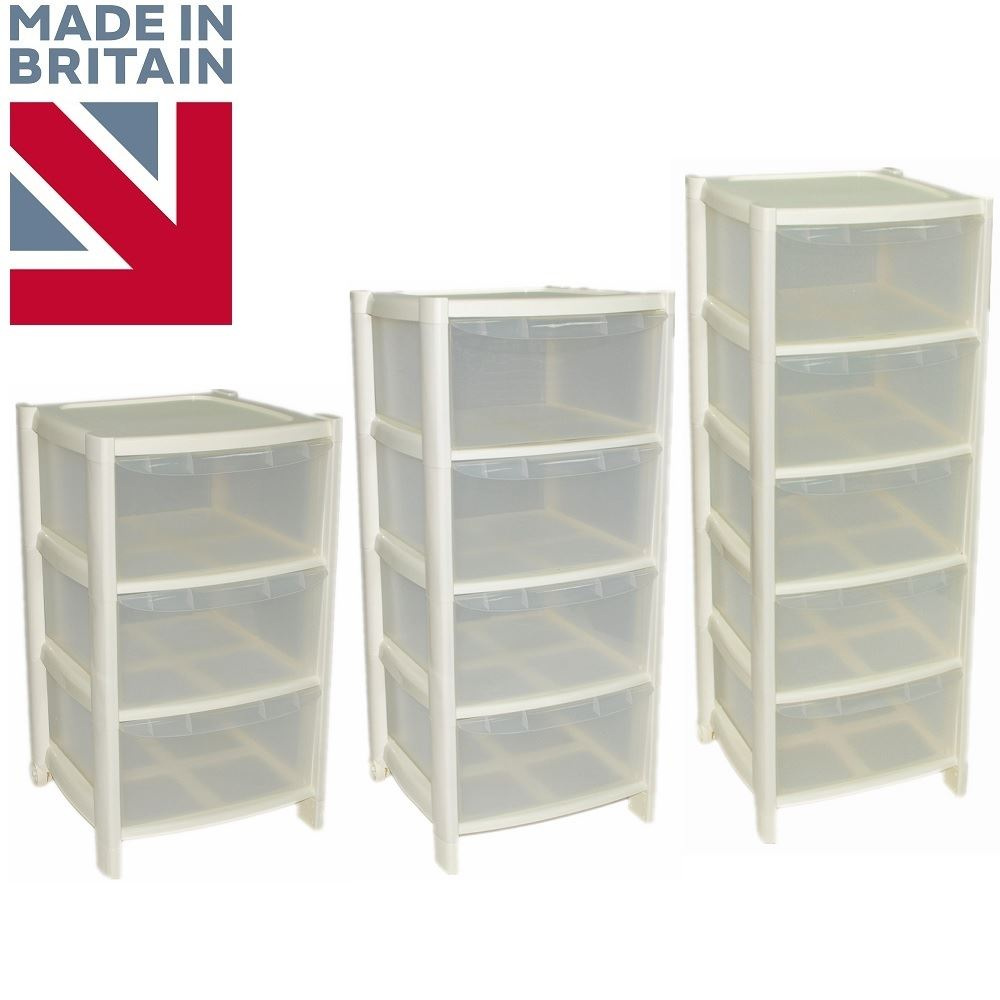 Cream Drawer Plastic Large Tower Storage Drawers Unit With