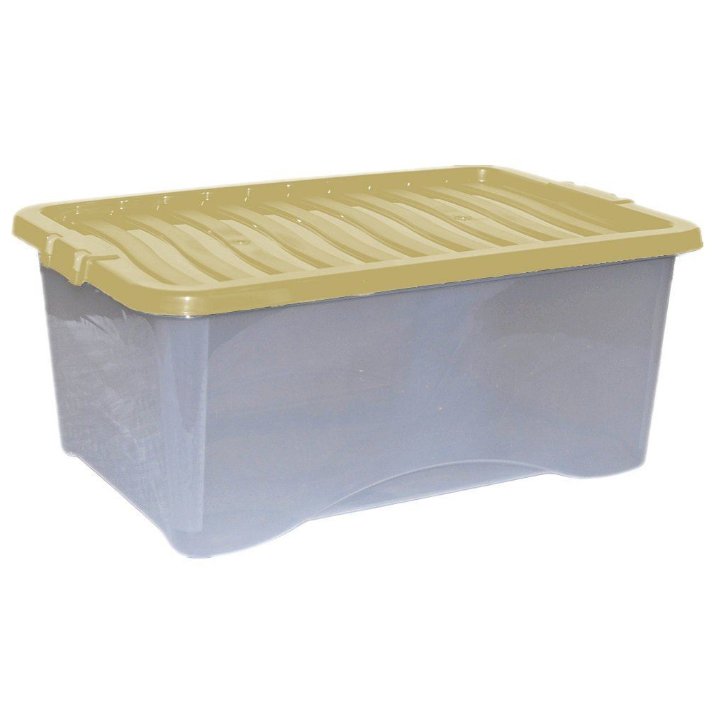 5x 45l plastic storage box strong stackable container with for Decor 6l container