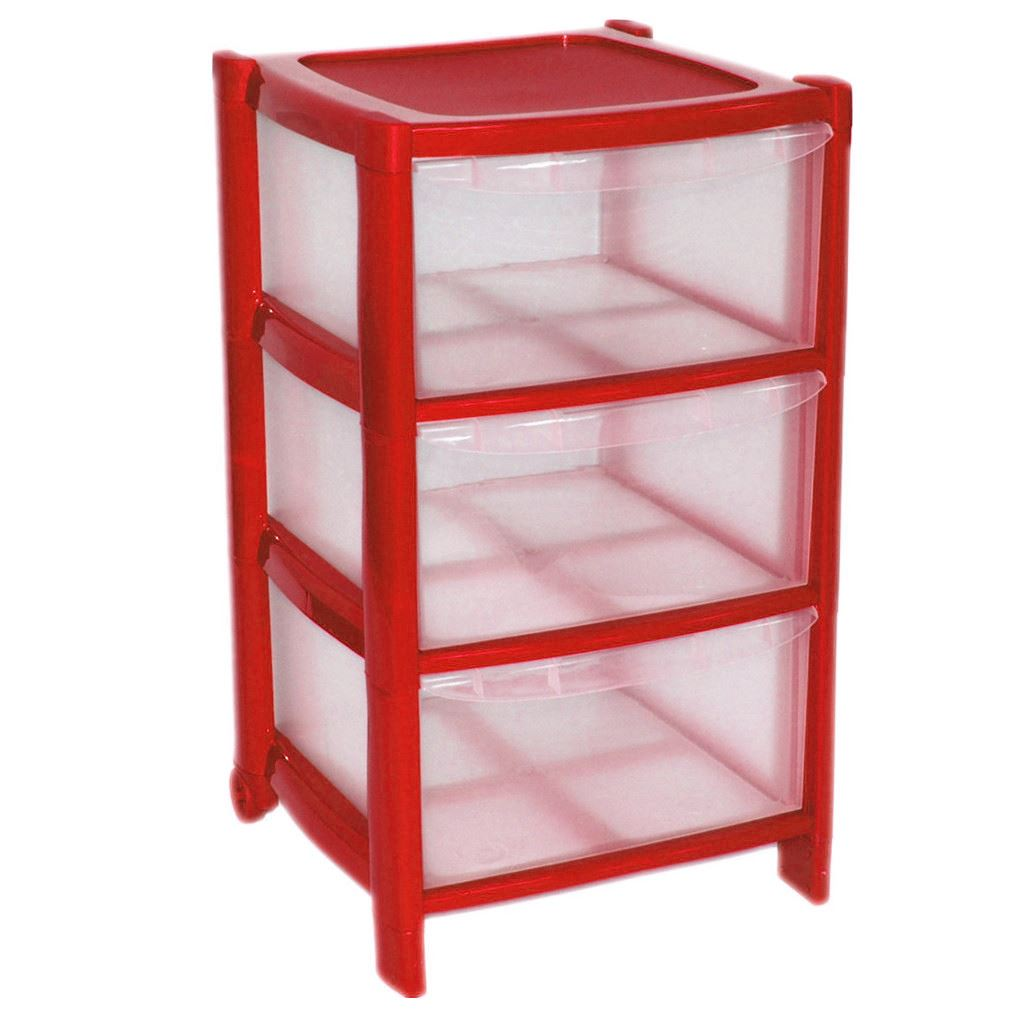 RED-Drawer-Plastic-Large-Tower-Storage-Drawers-Unit-  sc 1 th 225 & RED Drawer Plastic Large Tower Storage Drawers Unit with Wheels MADE ...