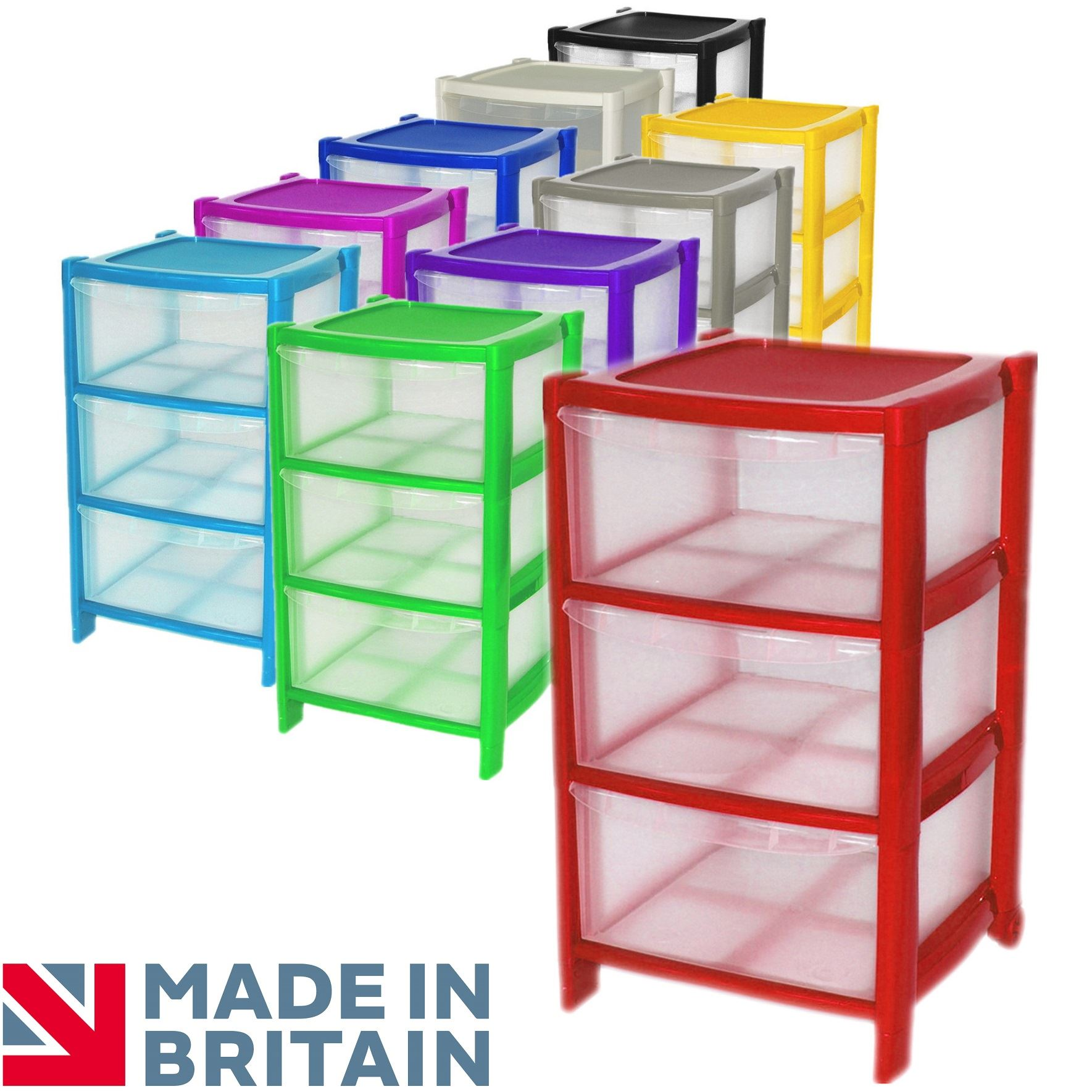 3 Drawer Plastic Large Tower Home Drawers Chest Unit With