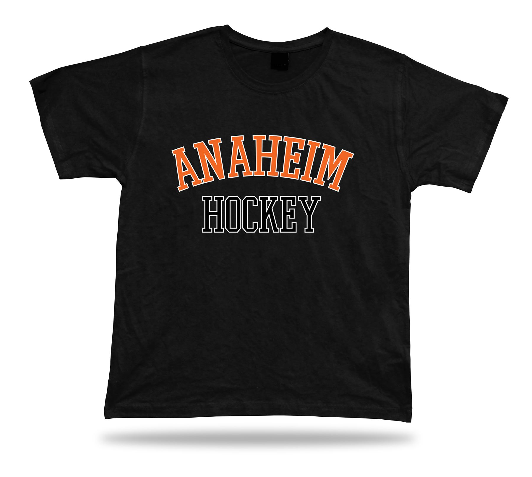 Anaheim Hockey T Shirt Tee Black White Orange Ca Usa Ice