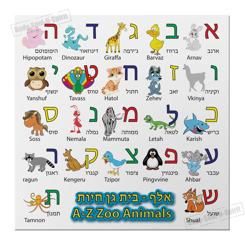 HEBREW Alphabet MAGNET Alef Bet zoo Animals Characters ...