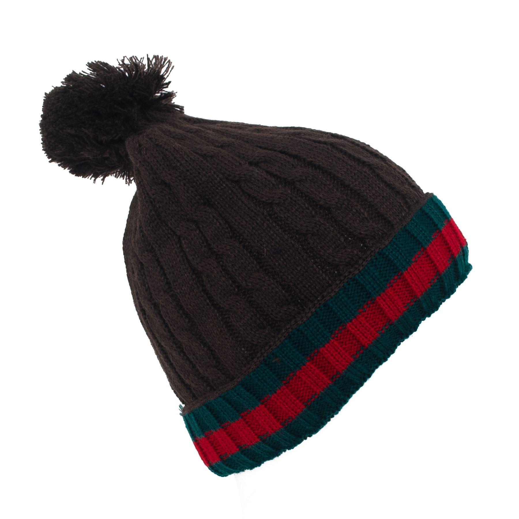 Stripe Pattern Unisex Knitted Pom Pom Ski Hat eBay