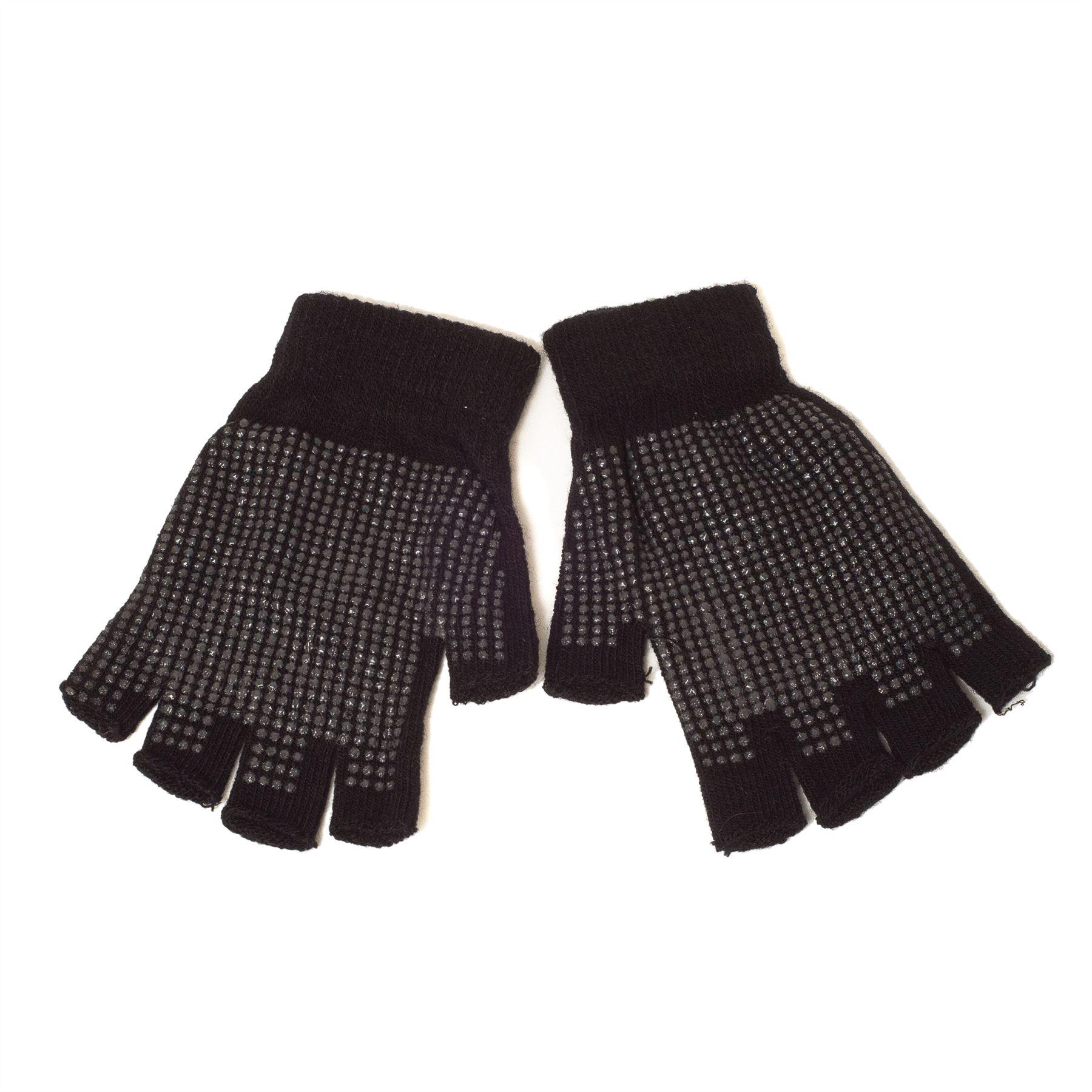 Plain Gloves Knitting Pattern : Fingerless Magic Knitted Gripper Gloves (Black) eBay