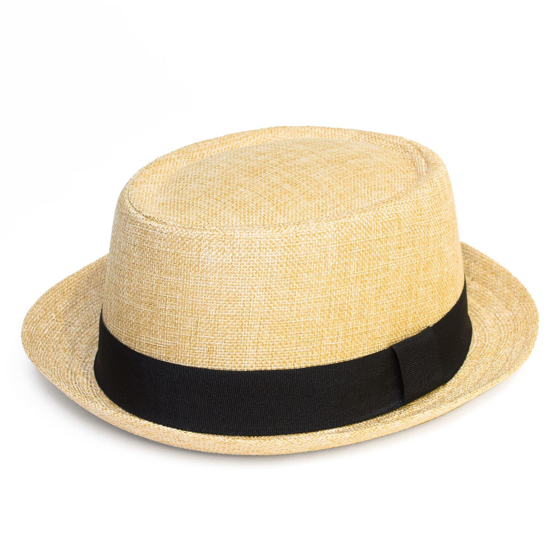 Pork Pie Hat with Black Grosgrain Band