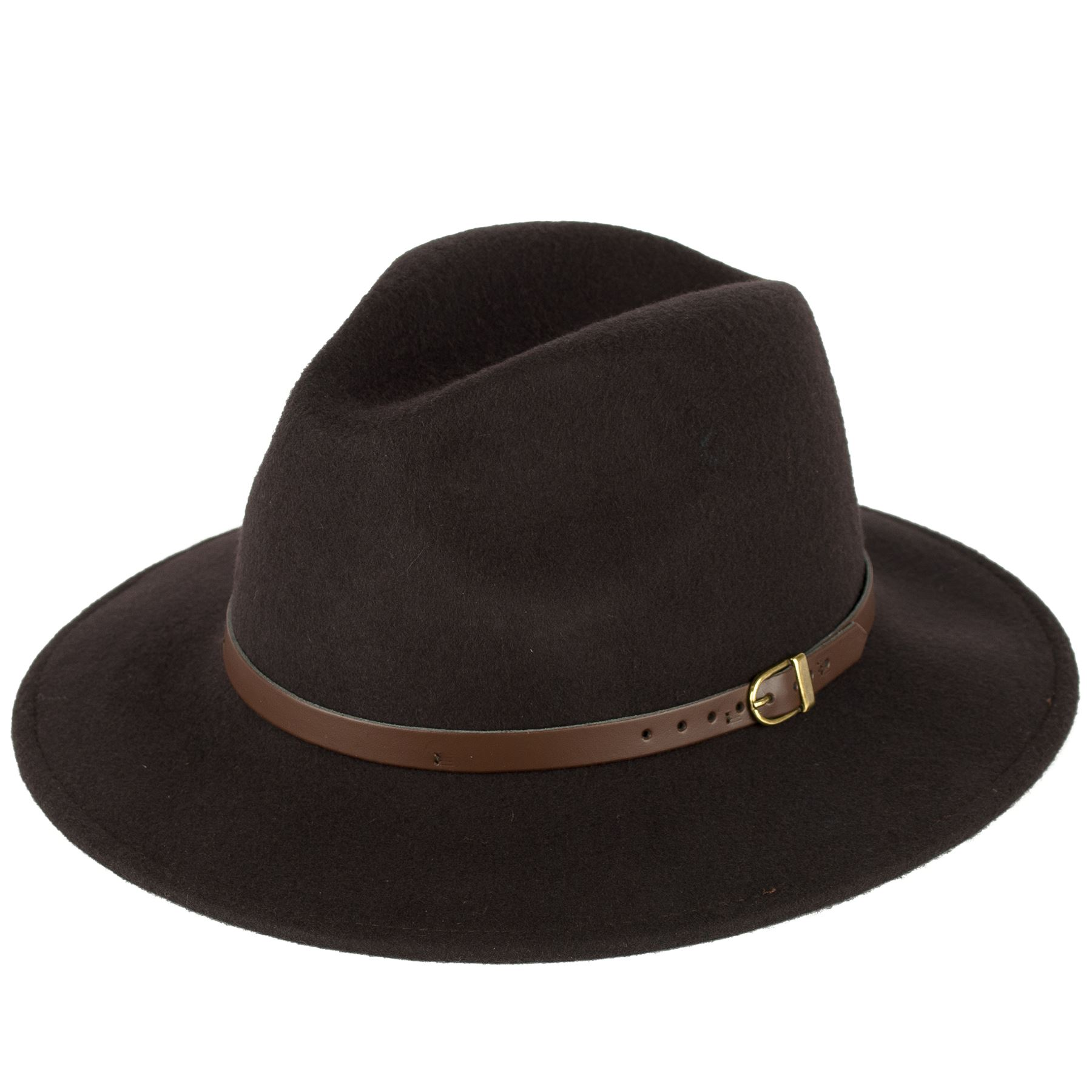 100% Wool Fedora Hat With Faux Leather Belt Handmade In Italy