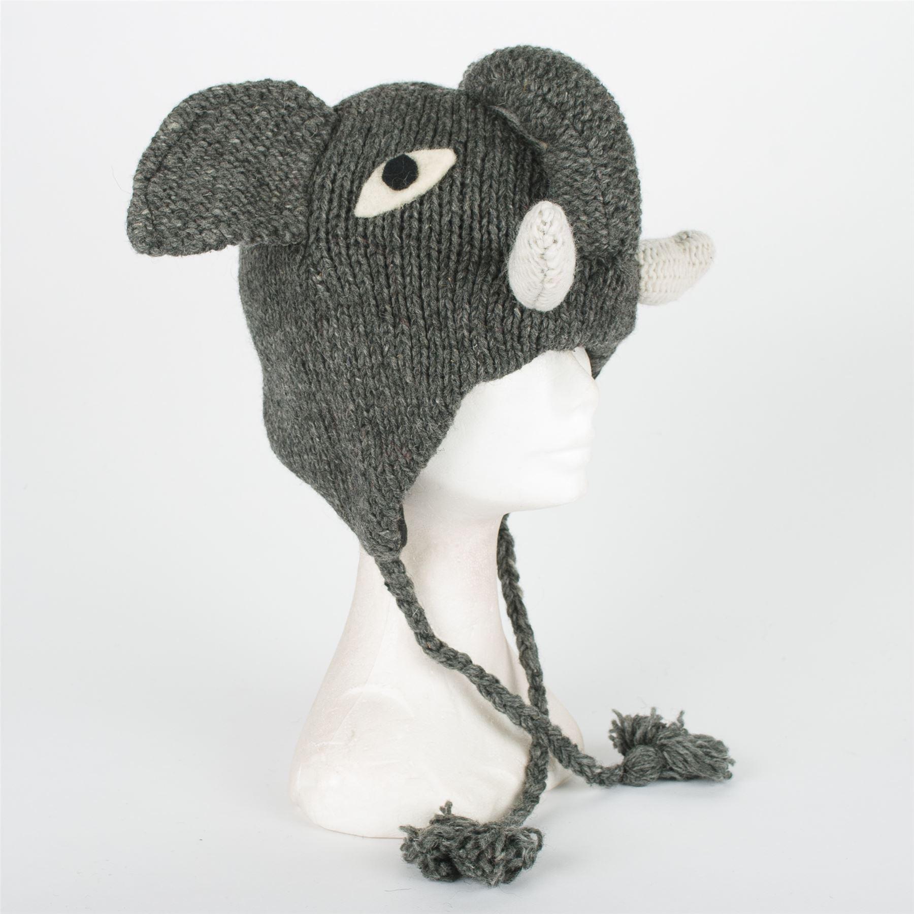 Knitting Pattern For Elephant Hat : Handmade Knit 100% Wool Unisex Animal Winter Nepal Hat, Elephant