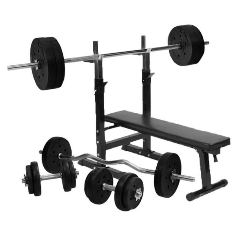 Gorilla sports weight bench with 100kg vinyl weight set ebay Bench and weight set
