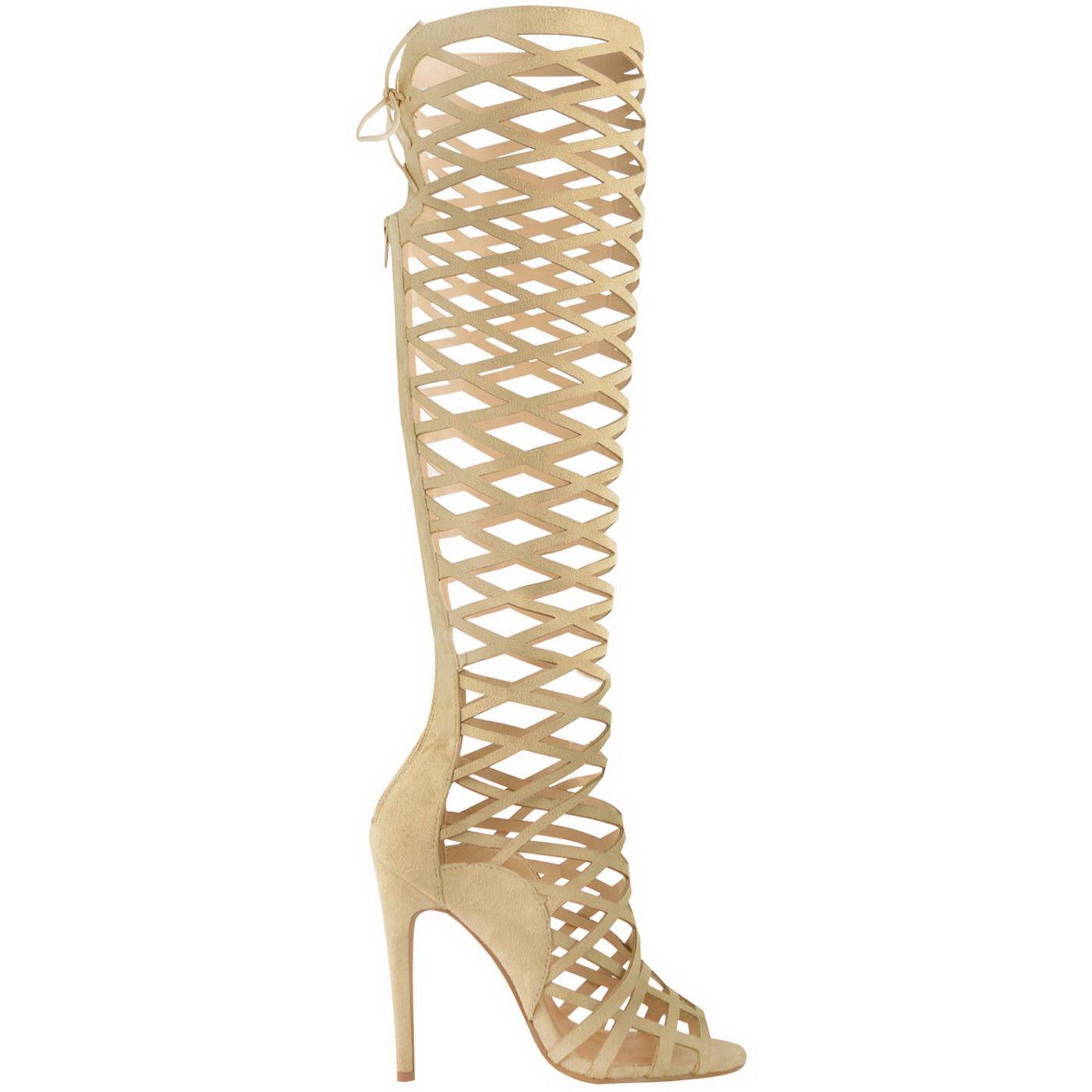 Knee High Gladiator Heel Sandals