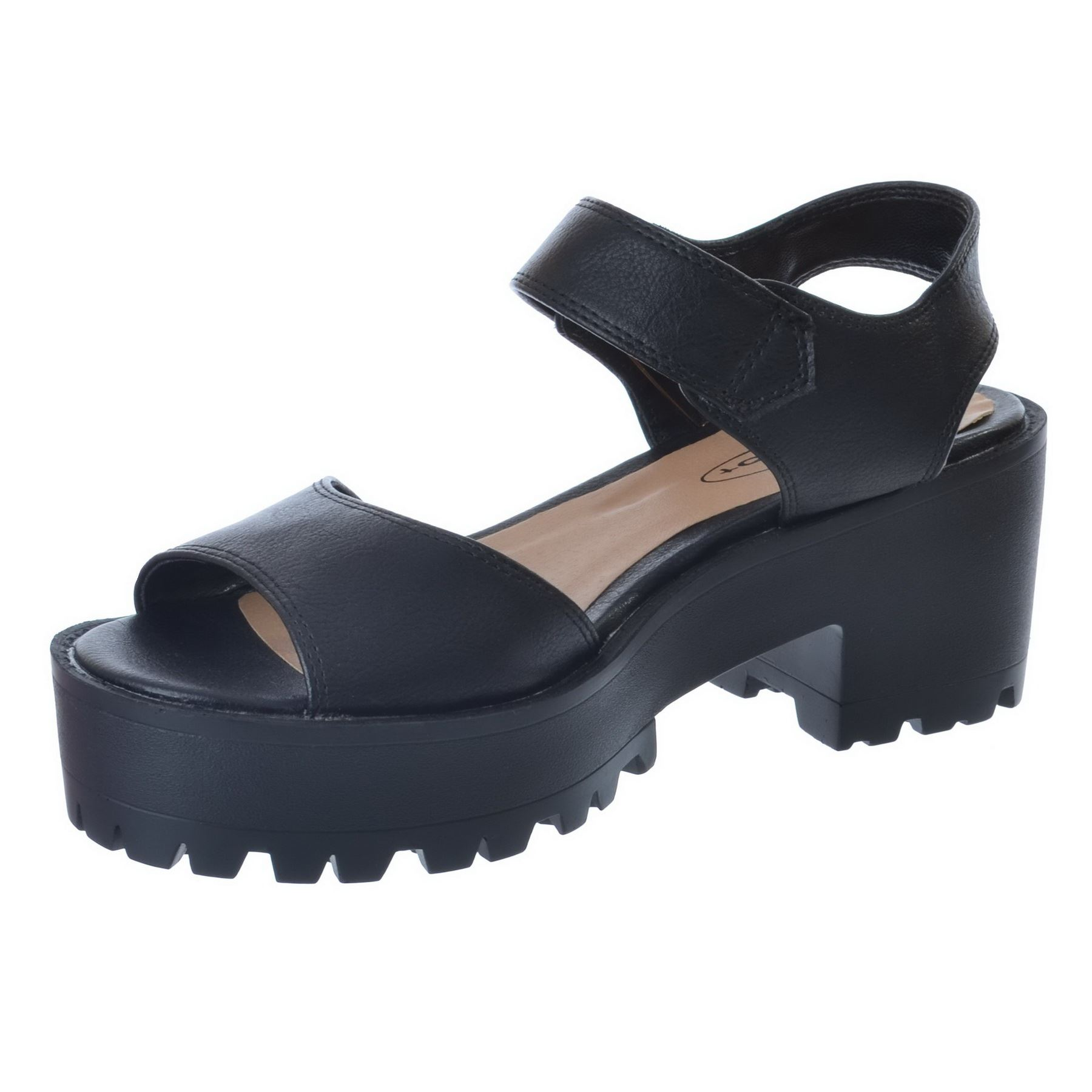 womens chunky wedge cleated sole strappy platform