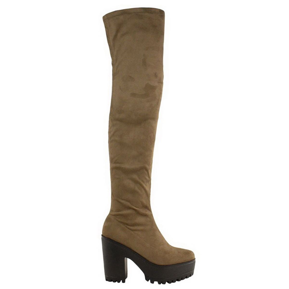 womens the knee thigh high chunky platform