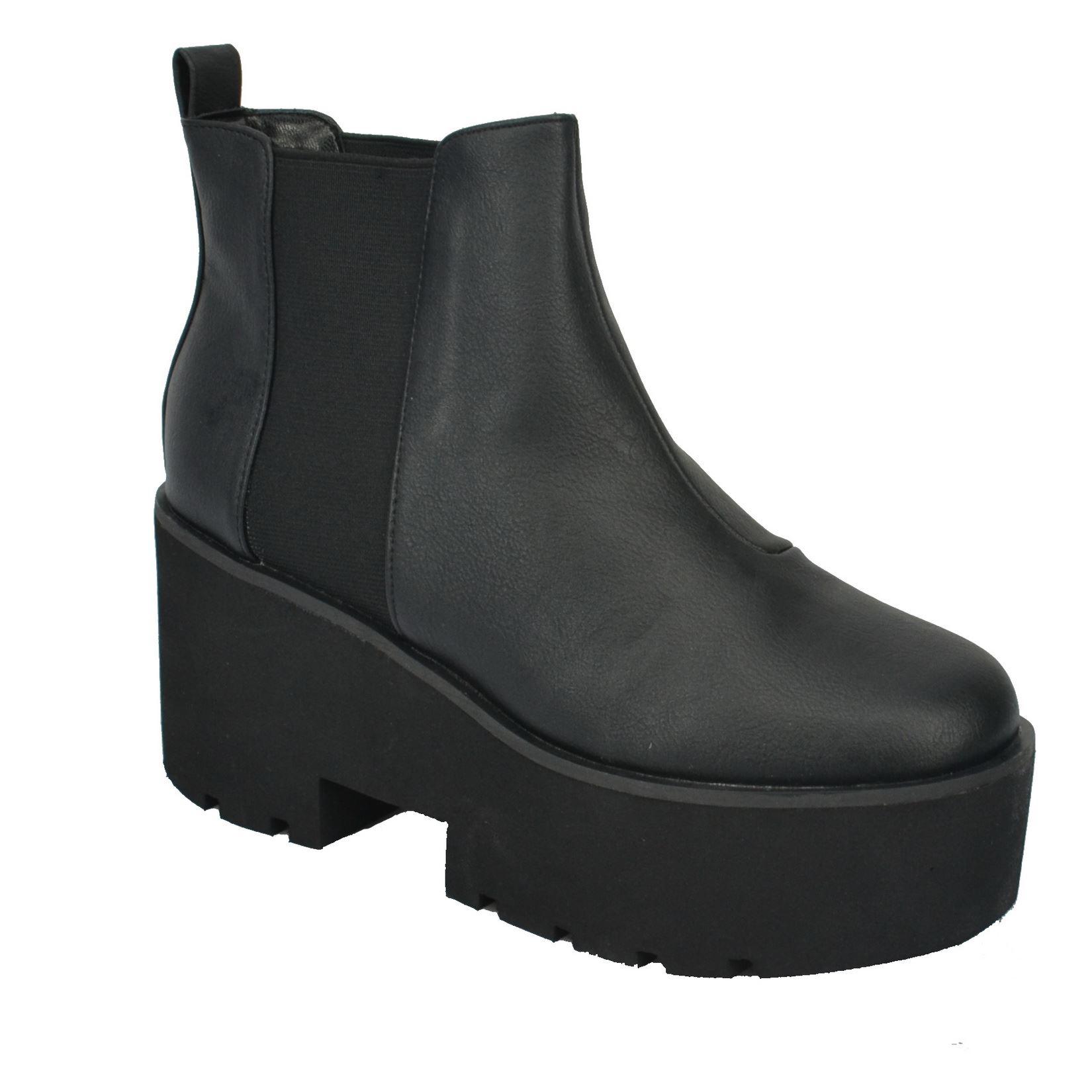 womens chunky platform wedge block heel chelsea