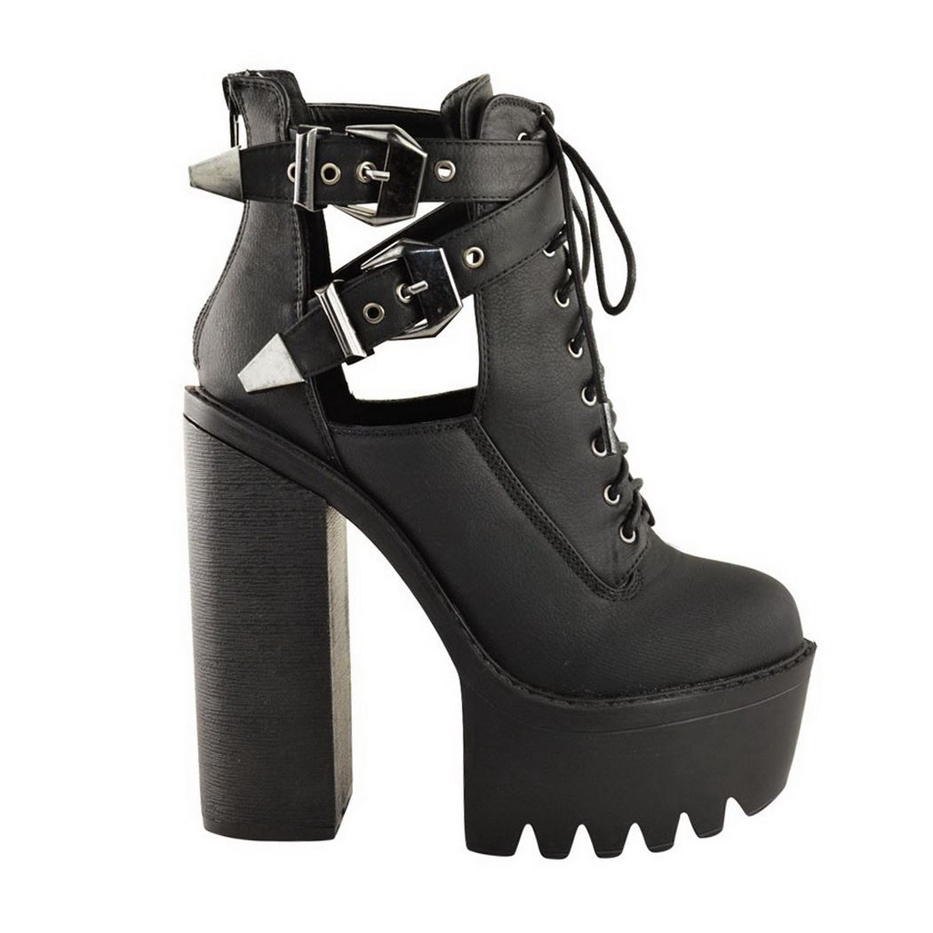 LADIES WOMENS CHUNKY BLOCK HIGH HEEL PLATFORM BUCKLE CUT OUT ANKLE BOOTS SHOES