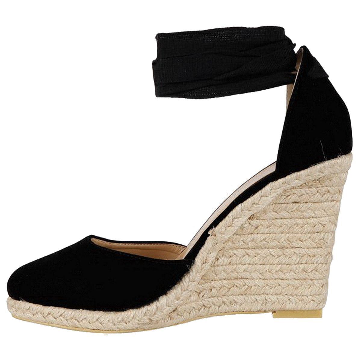 femme lacets cheville sangle espadrille talon haut compens sandales chaussures taille ebay. Black Bedroom Furniture Sets. Home Design Ideas