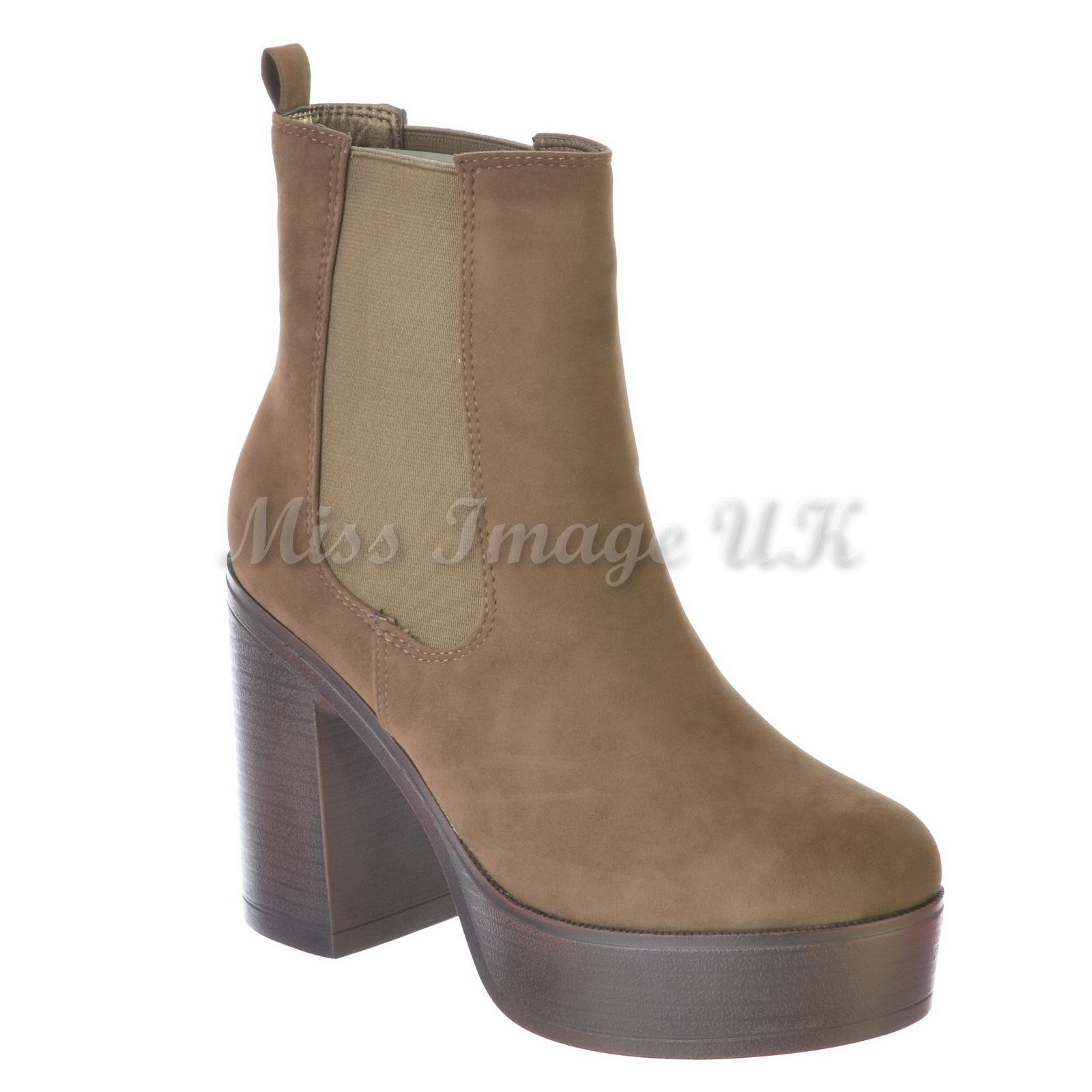 new womens platform high block flared heel chelsea