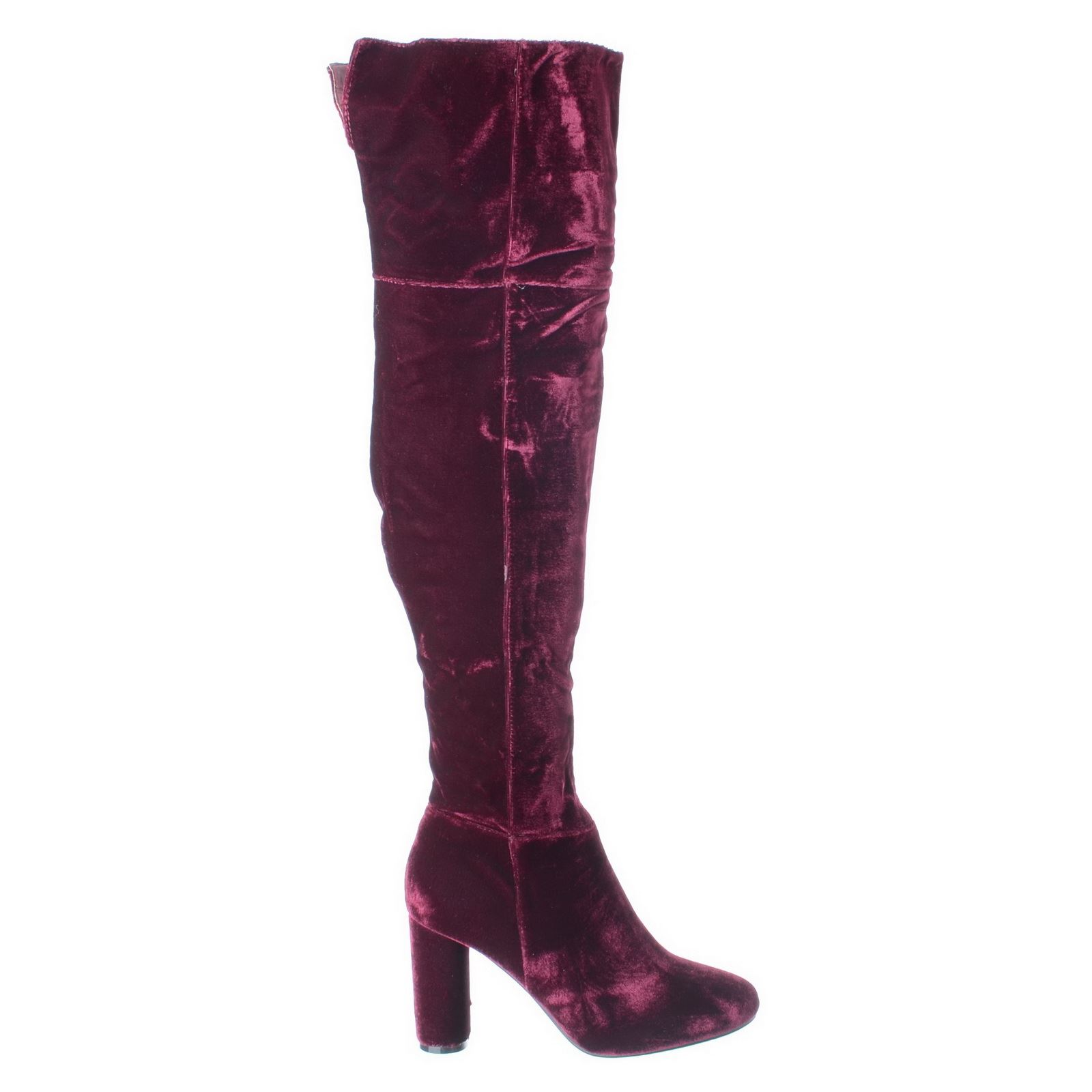 WOMENS LADIES BLOCK HEEL OVER THE KNEE THIGH HIGH SUEDE VELVET BOOTS SHOES SIZE