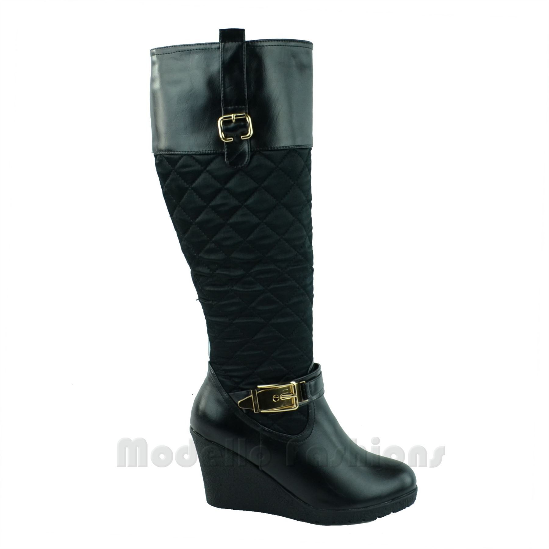 new womens wedge heel mid calf quilted gold buckle