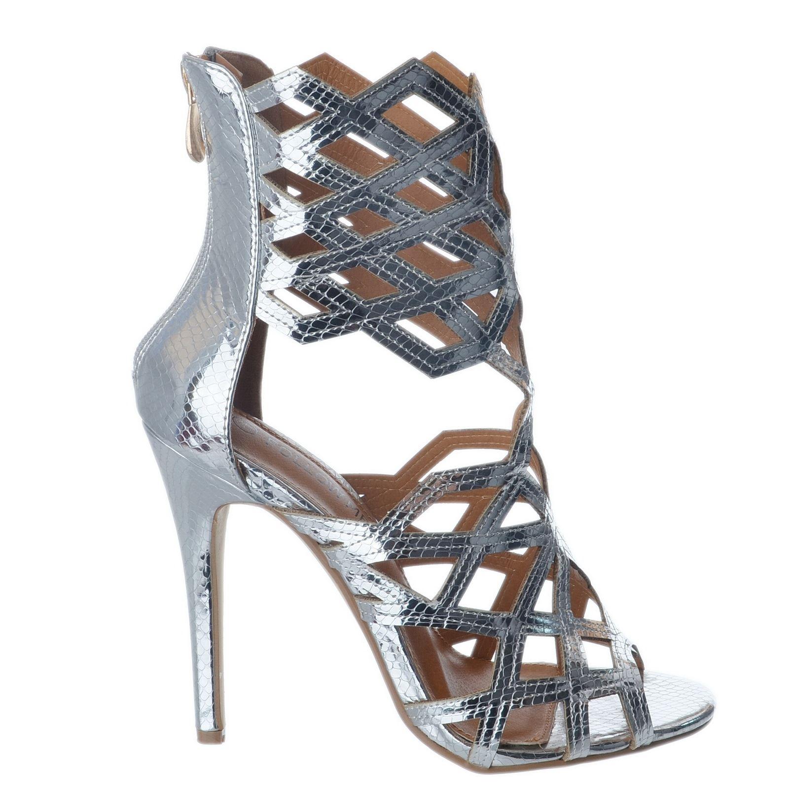 Women S Fashion Peep Toe Back Zip Mesh Stiletto High