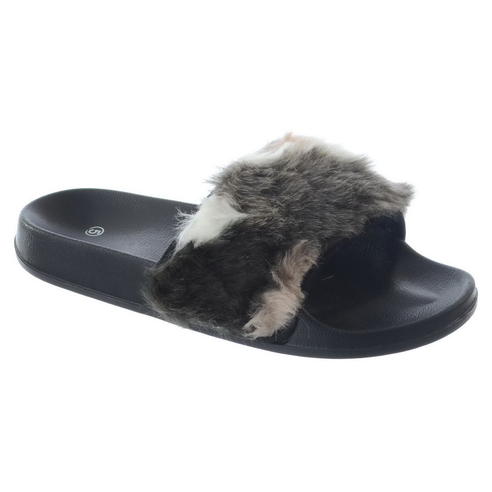 womens ladies slip on flat farrah rubber slider mules fur. Black Bedroom Furniture Sets. Home Design Ideas