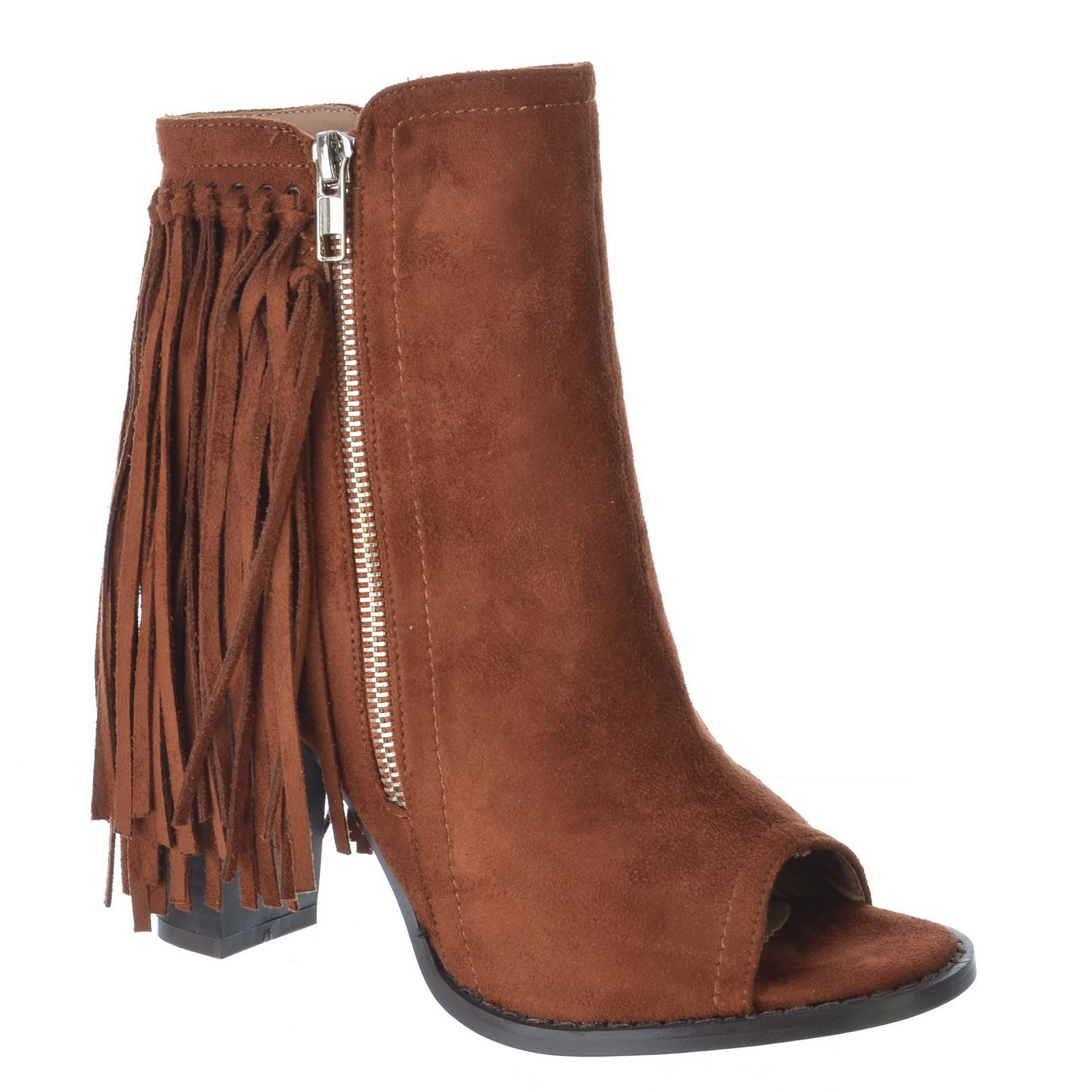 womens open peep toe fringe tassel block high heel