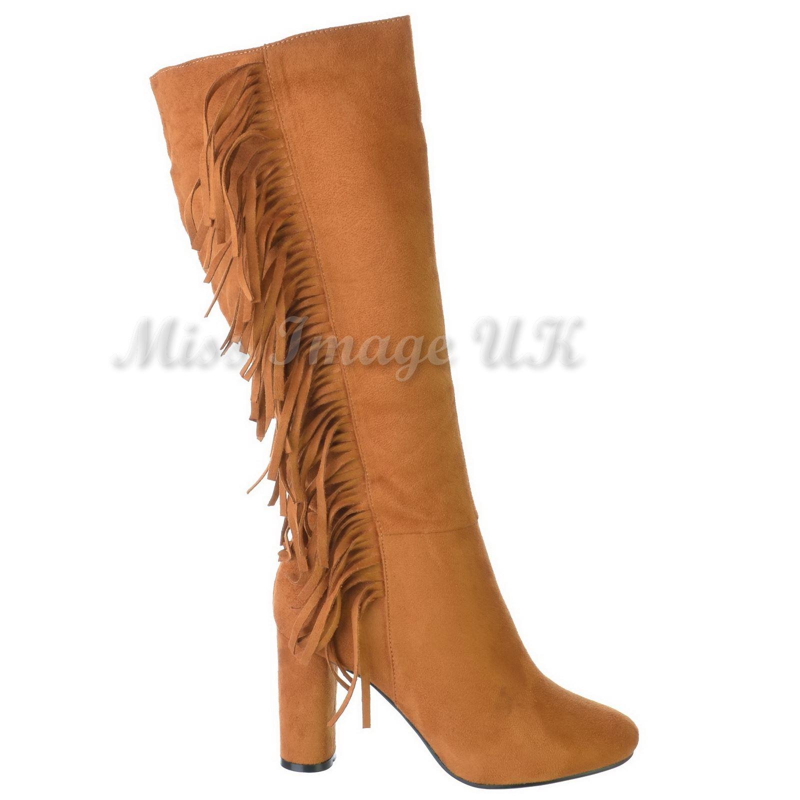 womens cowboy western block heel tassel fringe knee