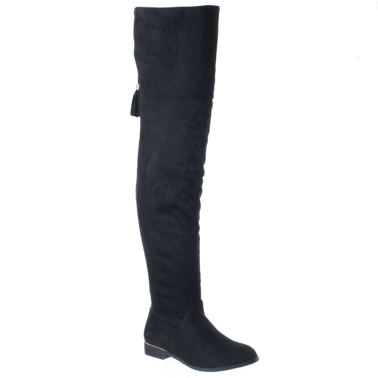 new womens low flat heel thigh high the knee