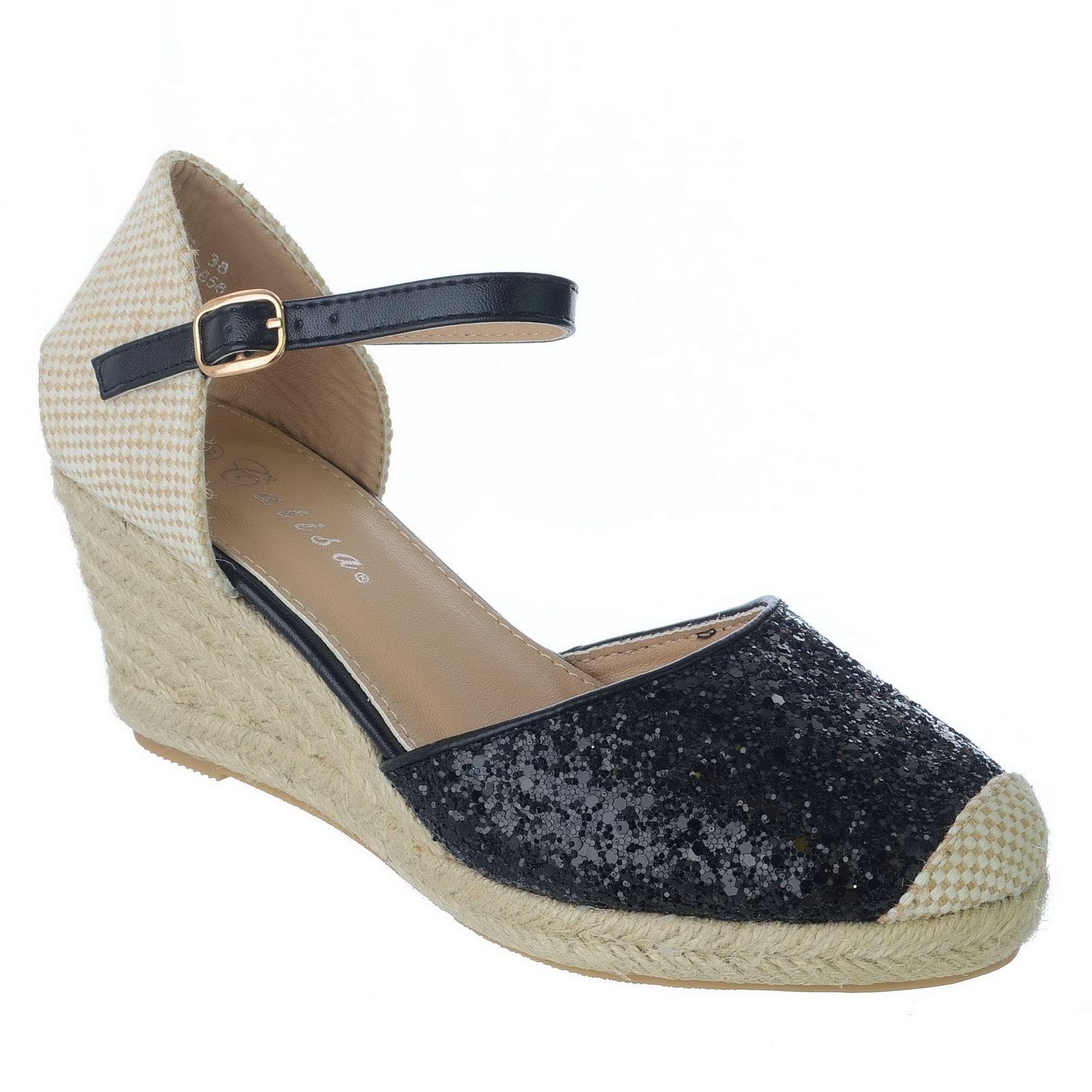 Donna Basse Espadrillas con Zeppa Tacco Sandali Cinturino alla Caviglia Glitter Tg UK