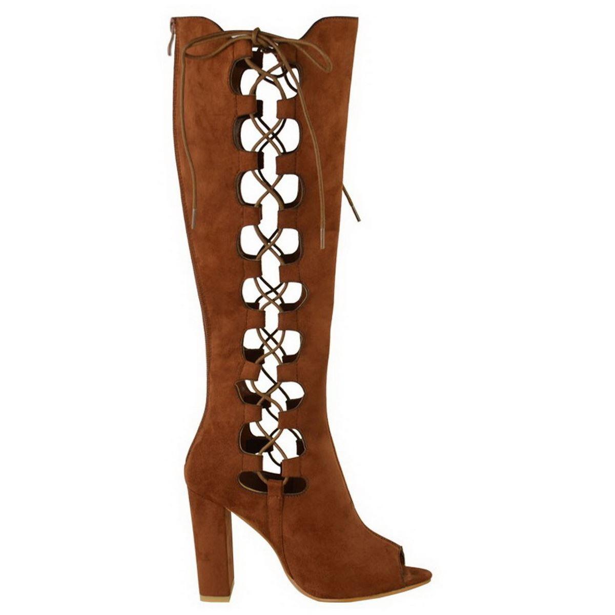 womens lace up knee high block heel open toe peep