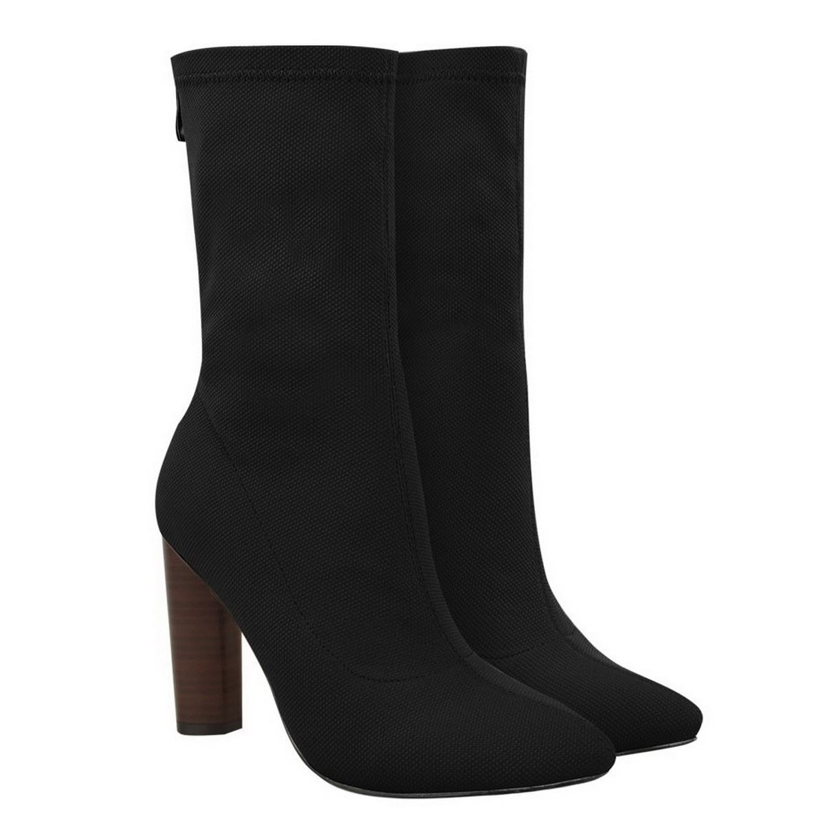 womens knitted stretchy ankle boots high block heel
