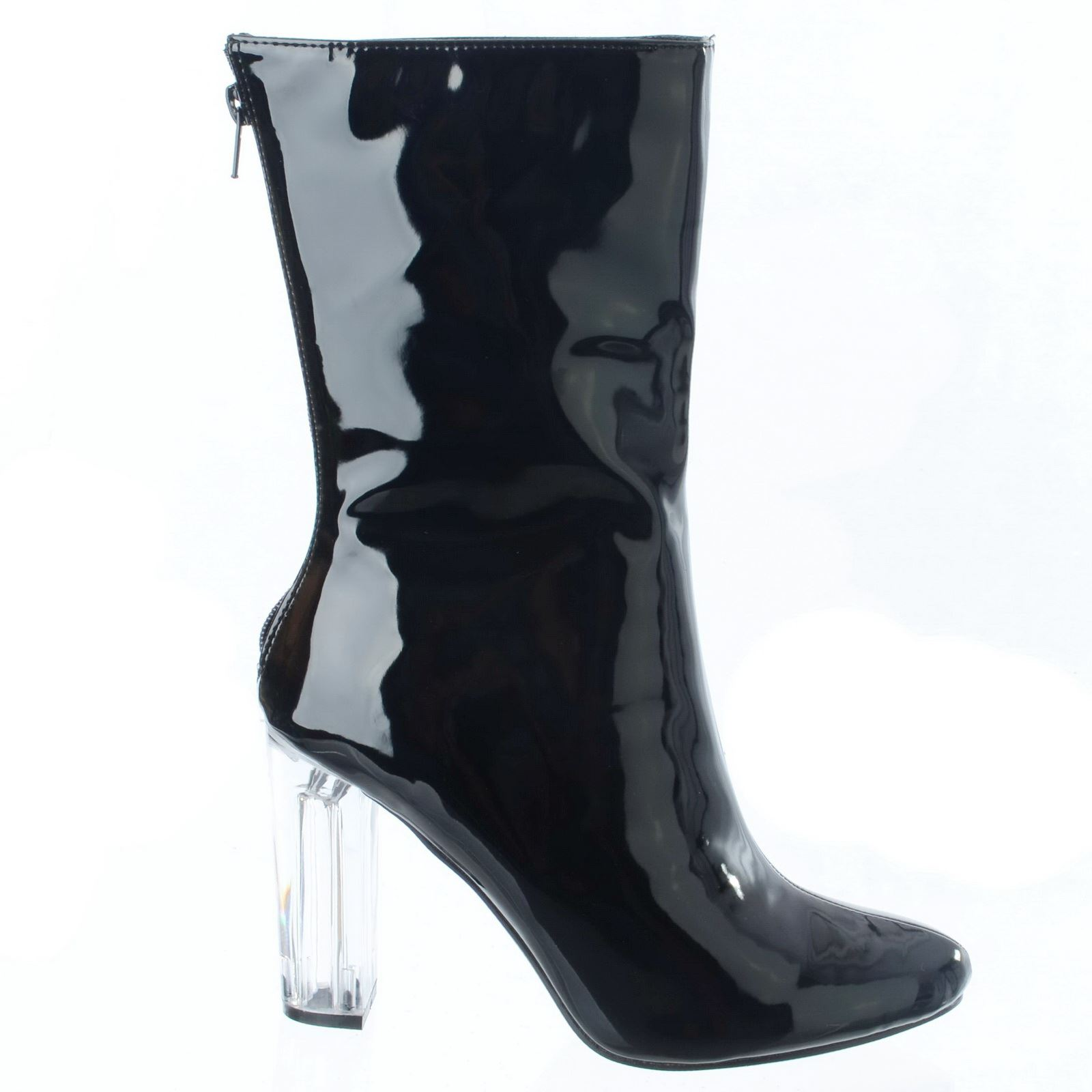 NEW WOMENS LADIES HIGH PERSPEX HEEL ANKLE ZIP UP FASHION PATENT BOOTS SHOES SIZE