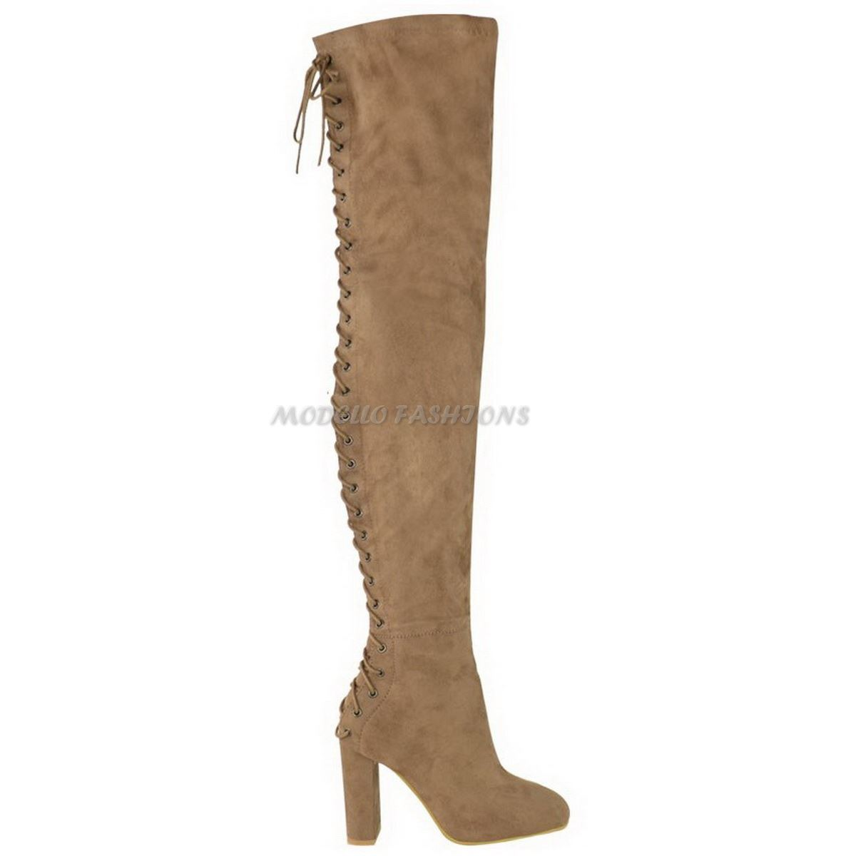 womens the knee thigh high block heel lace