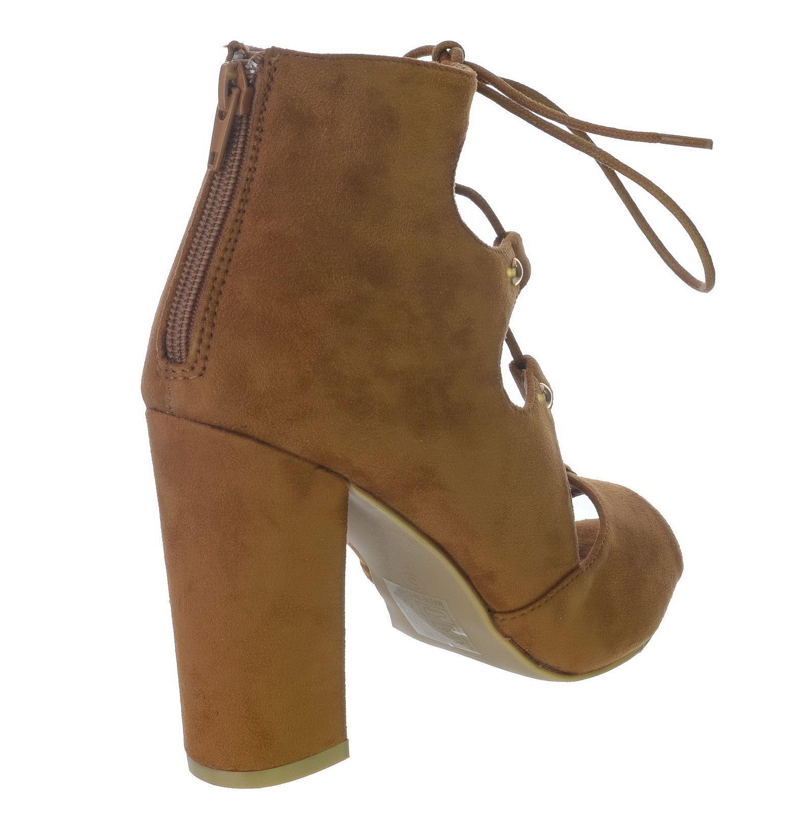 high block heel peep toe cut out lace zip up stud