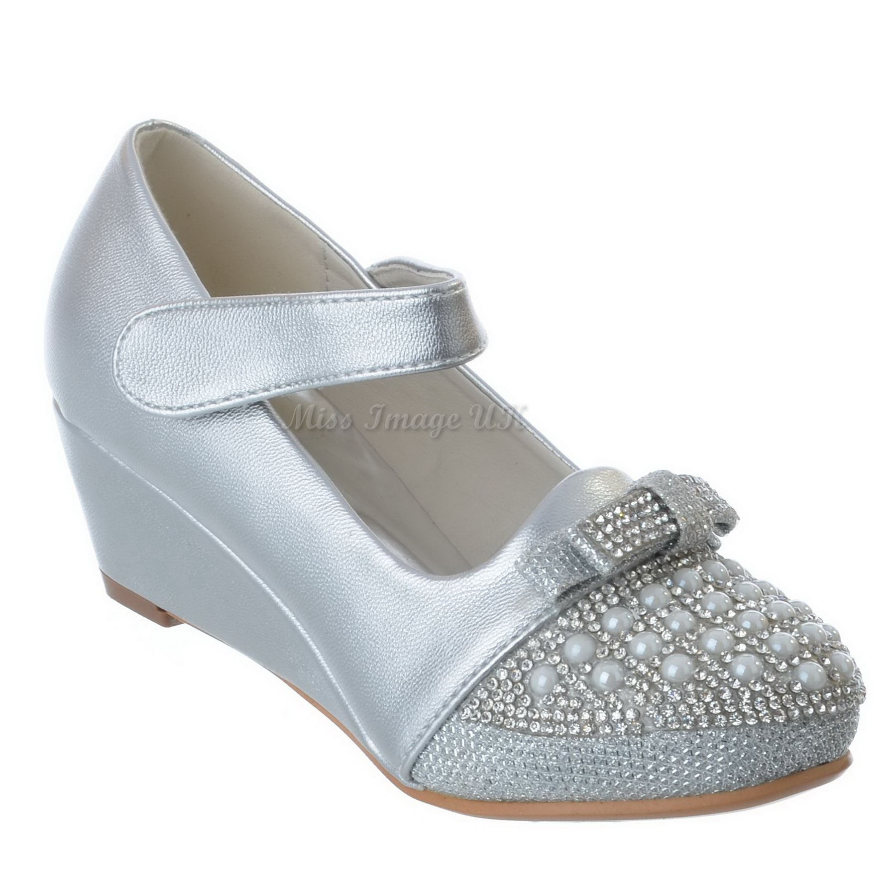 Girls Kids Low Wedge Heel Diamante Party Wedding Mary Jane