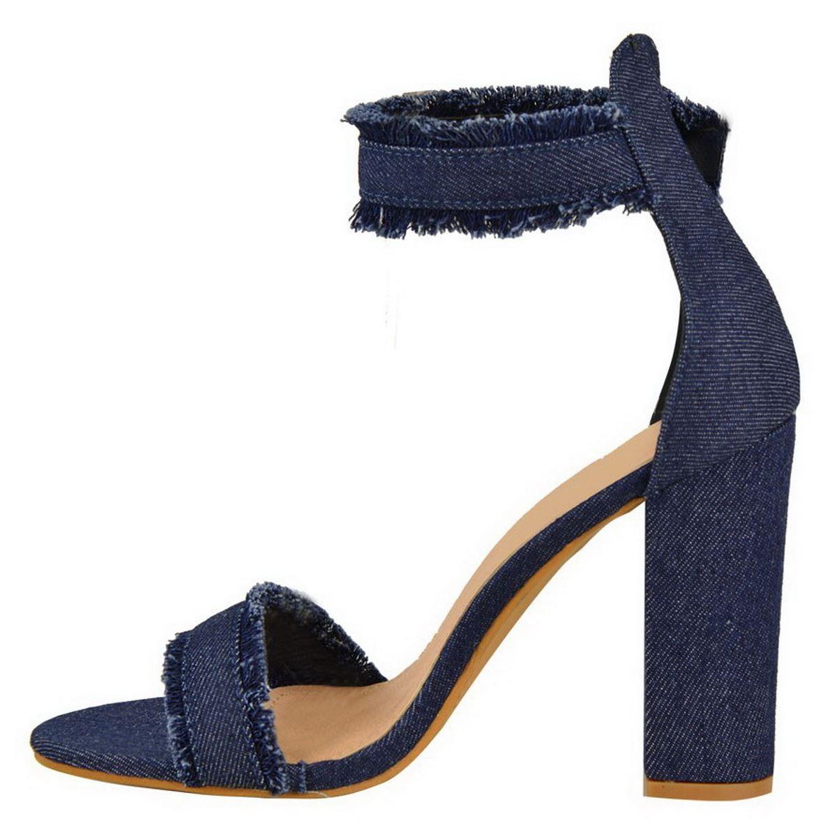 Ankle Strap Shoes Slim Block Heel  Uk