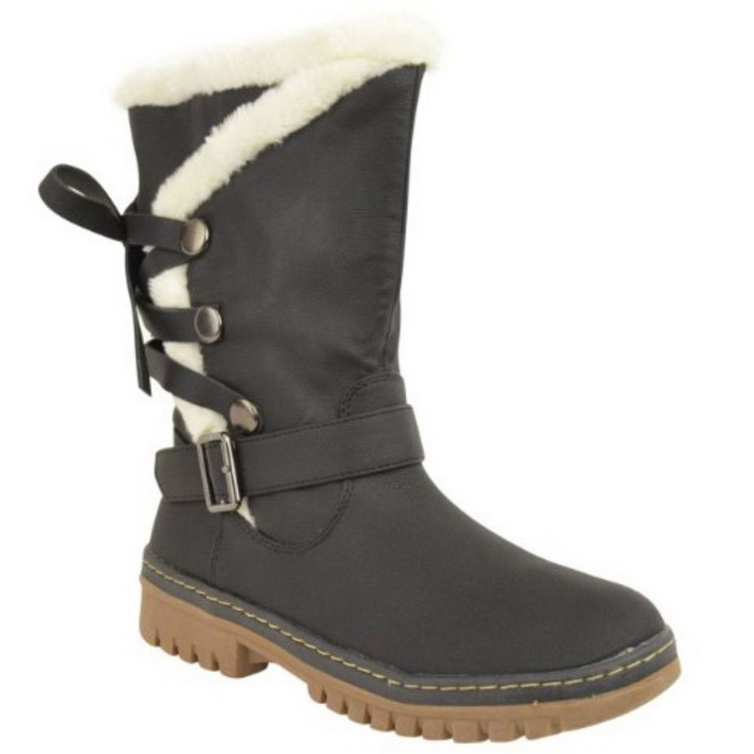 NEW WOMENS LADIES FUR LINED MID CALF FLAT WINTER SNOW