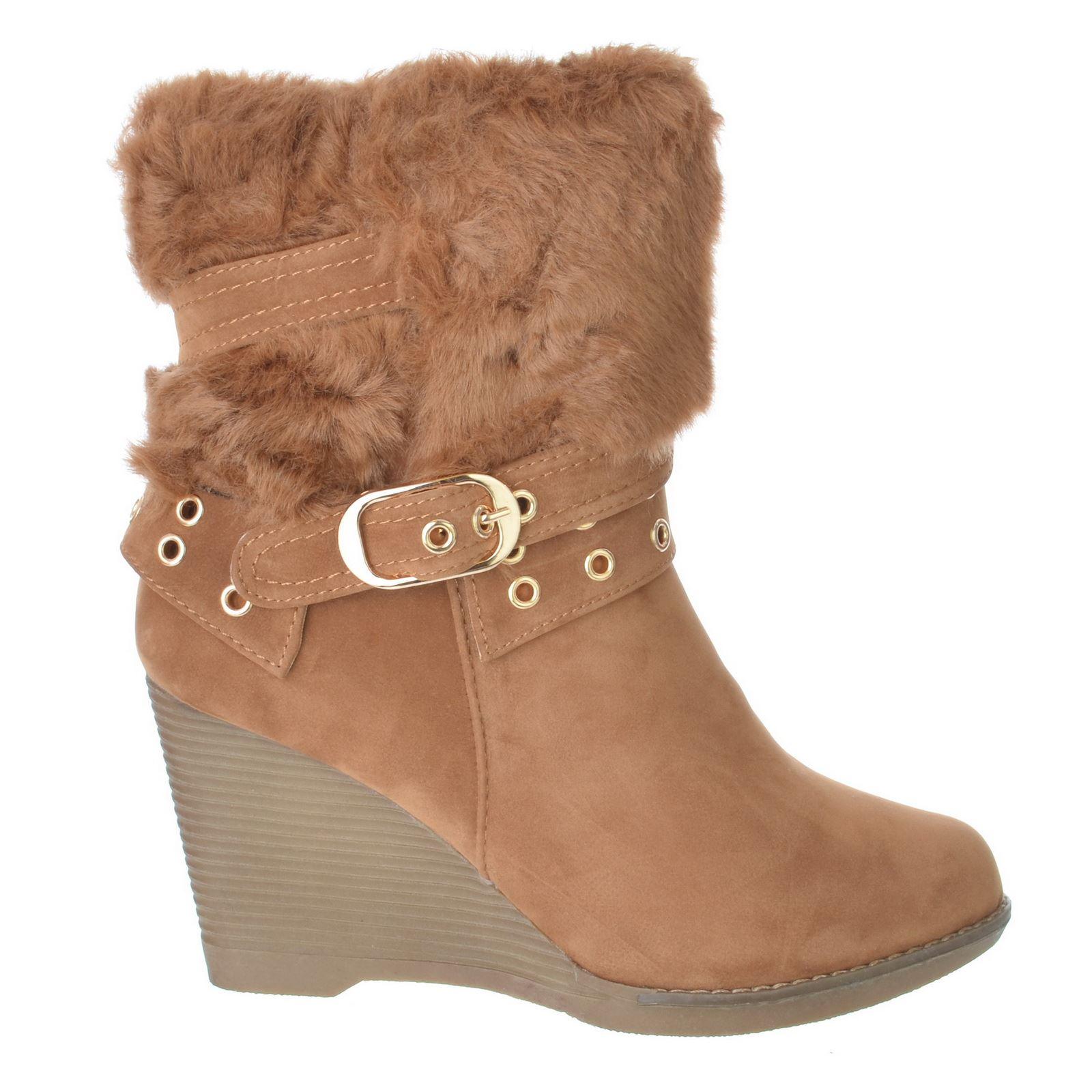 womens mid heel wedge platform zip ankle fur warm