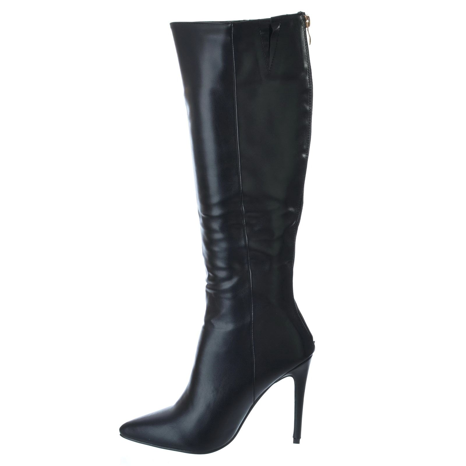 womens knee high stiletto heel pointed toe zip up