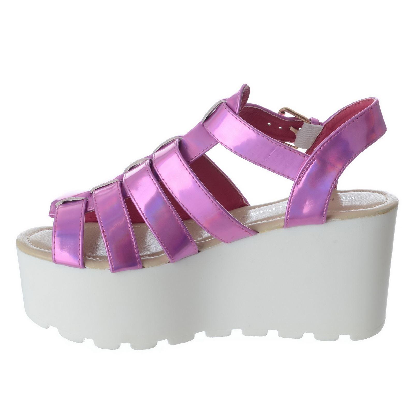 womens chunky sole gladiator summer wedges platform