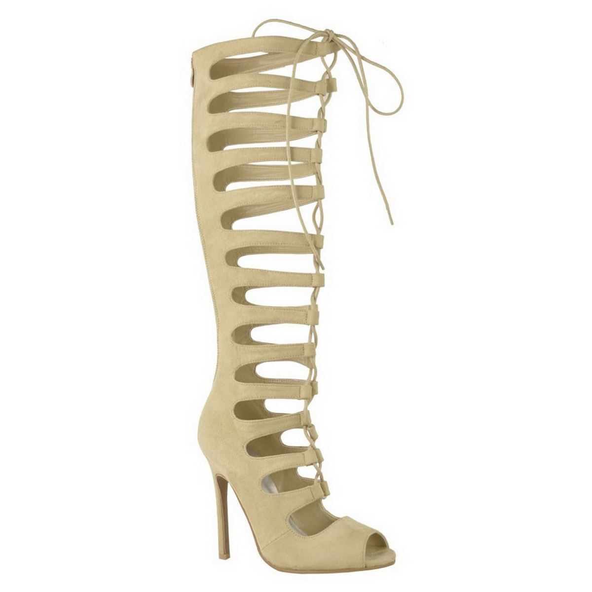 womens knee high cut out lace up stiletto