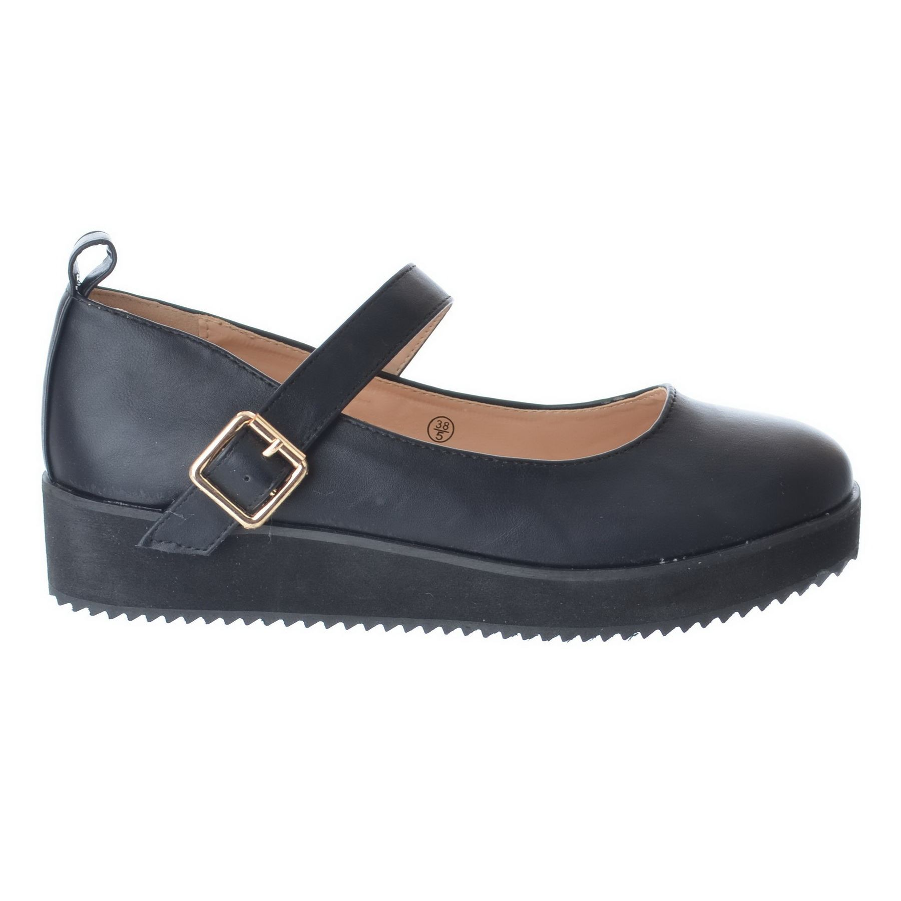 LADIES WOMENS GIRLS MARY JANE PLATFORM SHOES BUCKLE SCHOOL FLAT PUMPS WORK SIZE