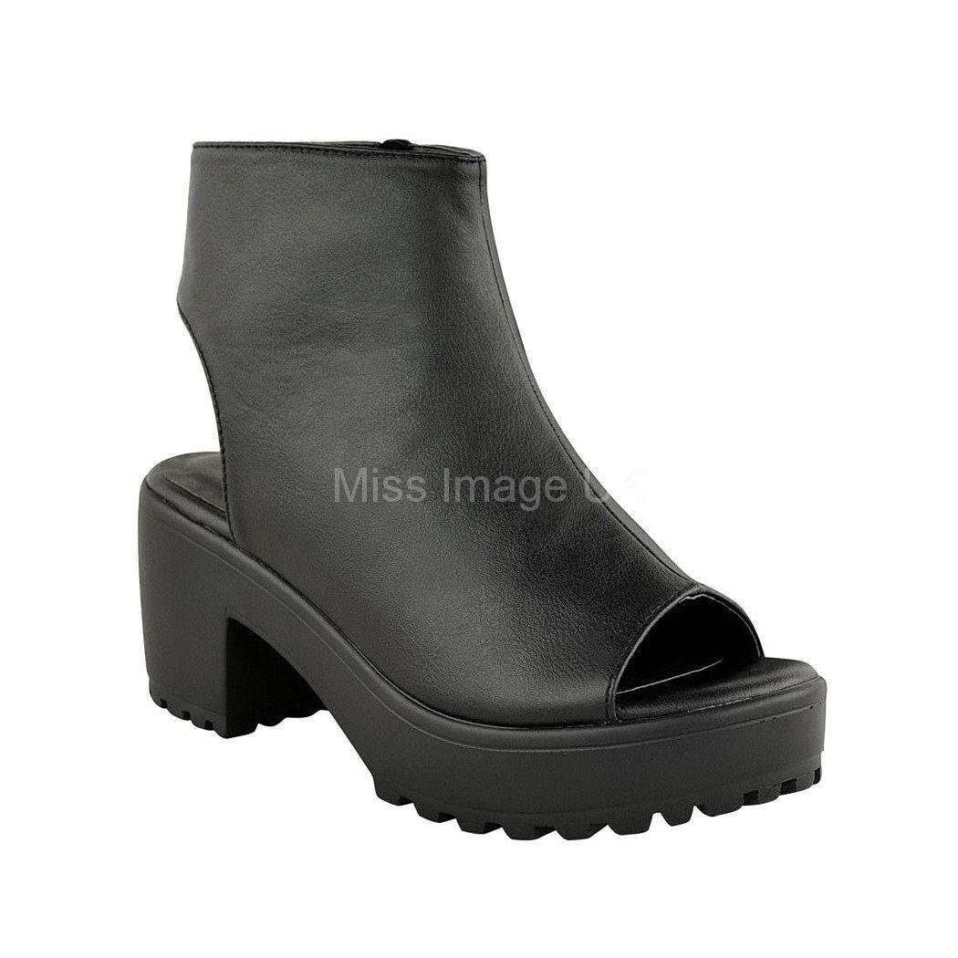bottines femme talon bloc pais plateforme bout ouvert bottines ajour es chaussures sandale. Black Bedroom Furniture Sets. Home Design Ideas