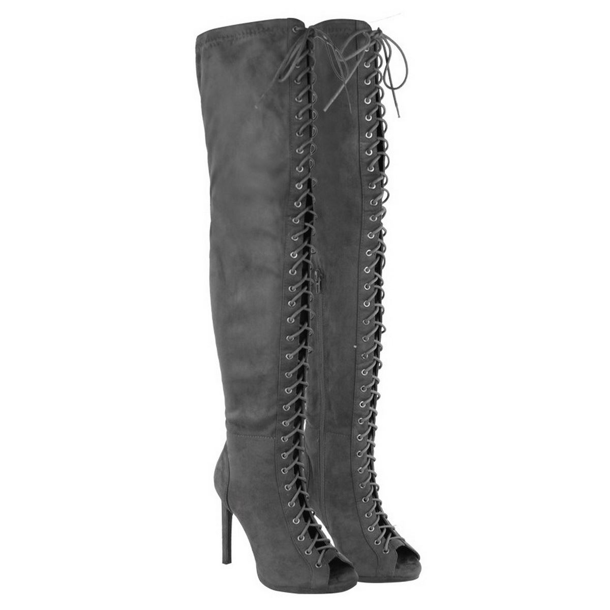 womens thigh high the knee peep toe lace up