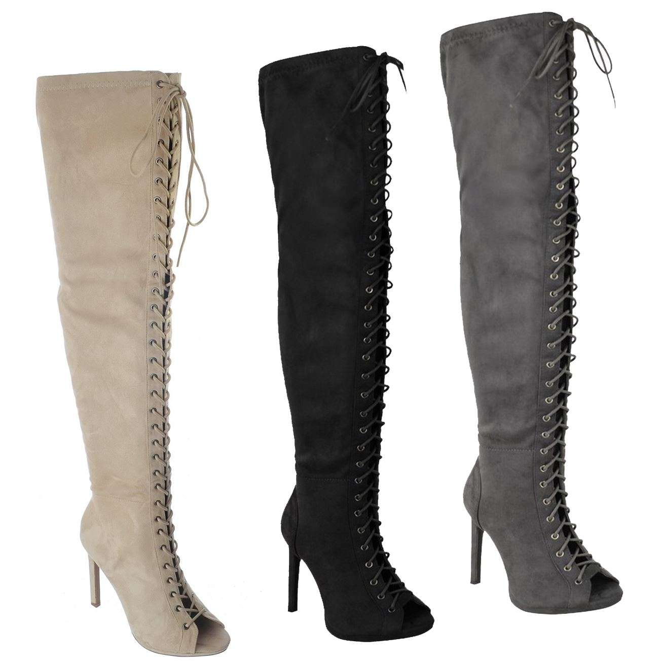 womens the knee thigh high peep toe lace up
