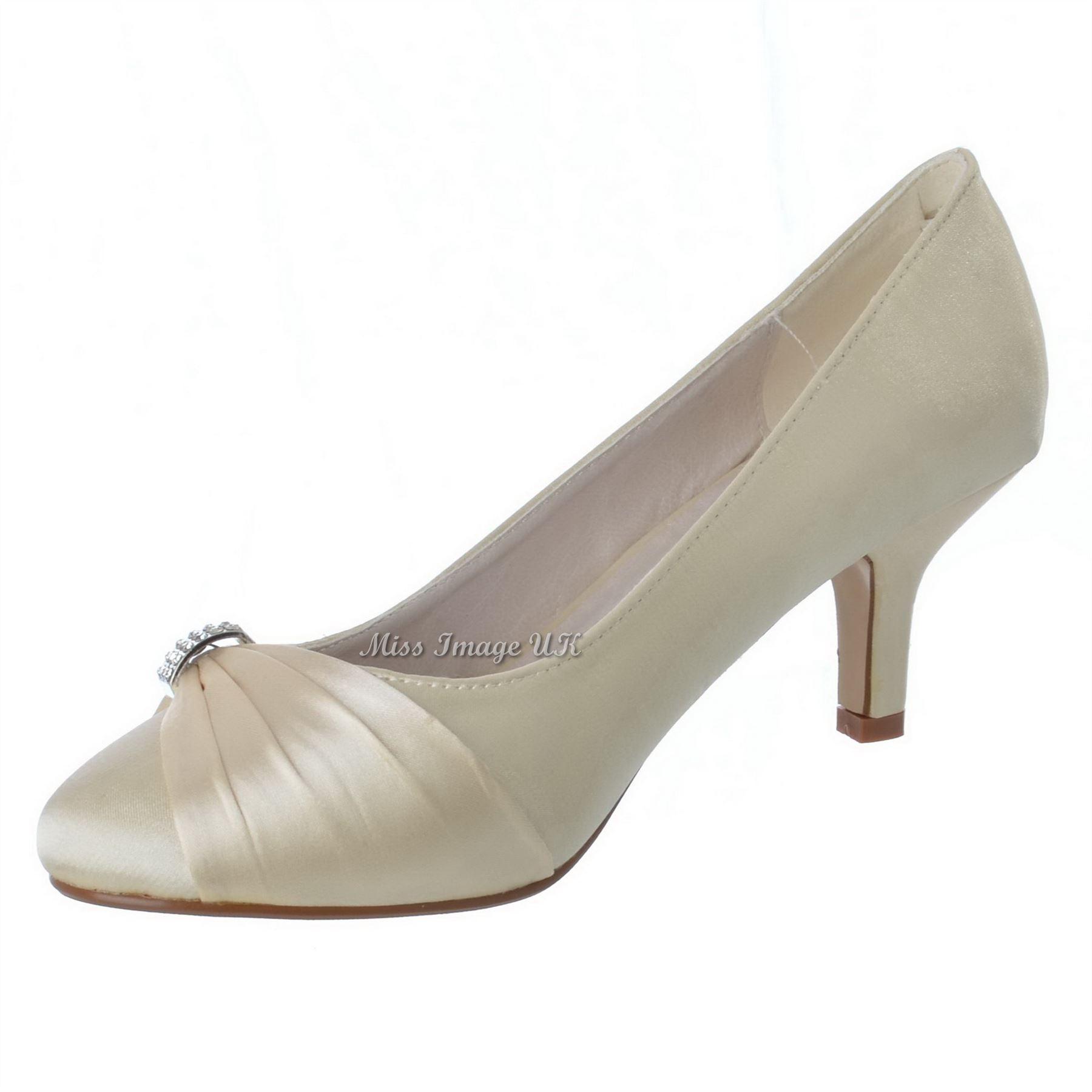 Bridal Shoes Low Heel: WOMENS LADIES CLASSIC WEDDING BRIDAL DIAMANTE PROM SHOES