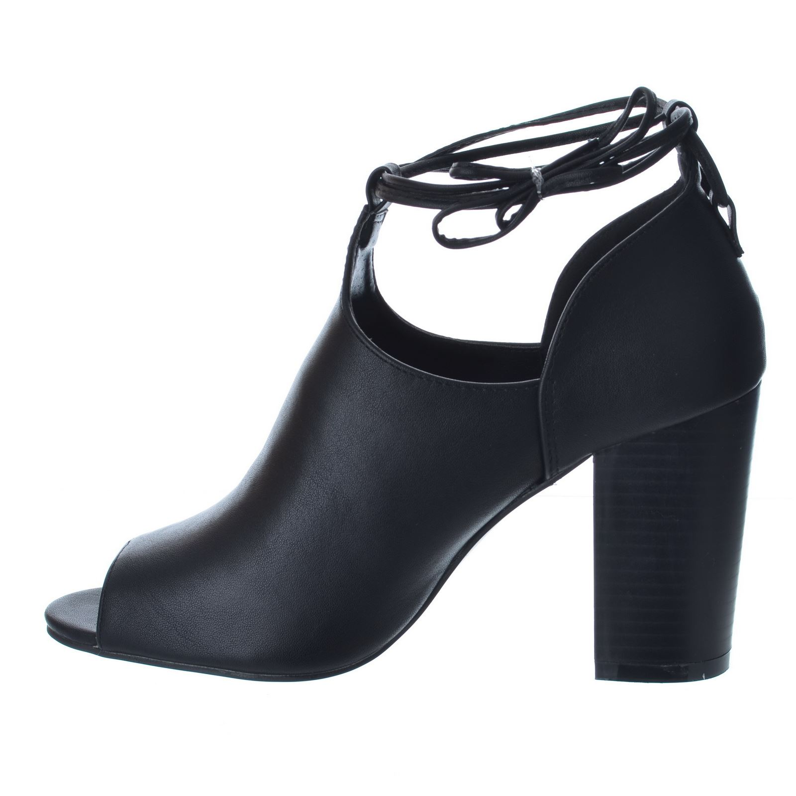 new womens mid block heel peep toe spiral lace up