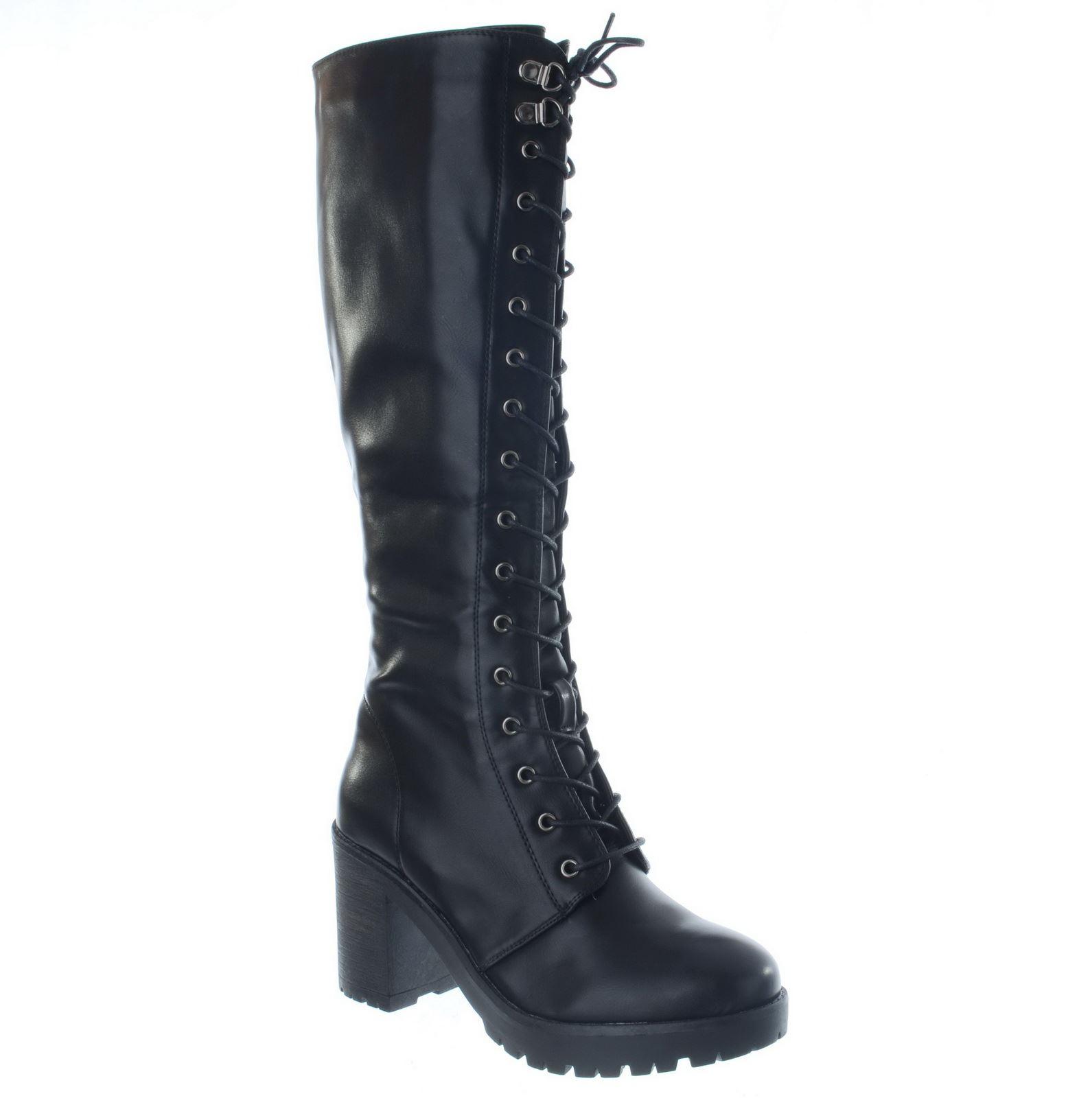 womens chunky knee high mid block heel platform