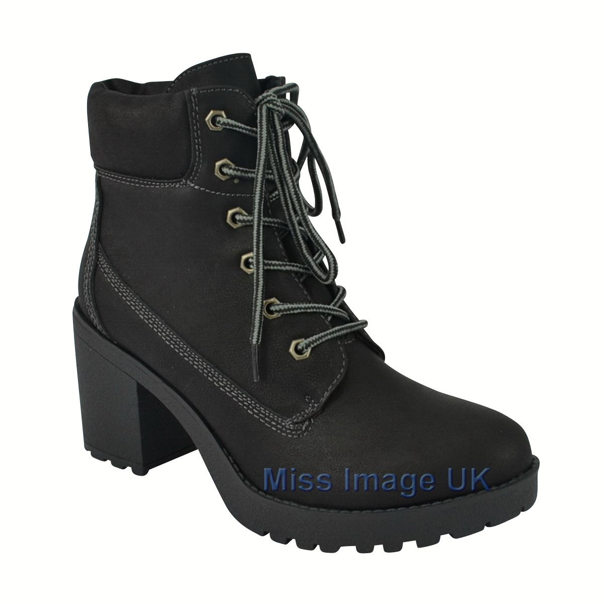 womens mid heel ankle hi top boots lace up casual