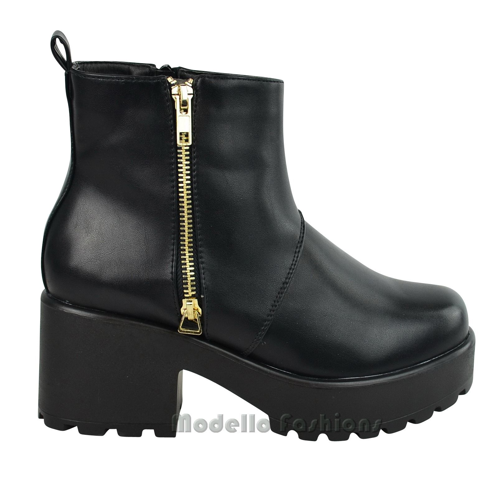 NEW WOMENS LADIES MID BLOCK HEEL GOLD ZIP PLATFORM CHUNKY ANKLE BOOTS SHOES SIZE